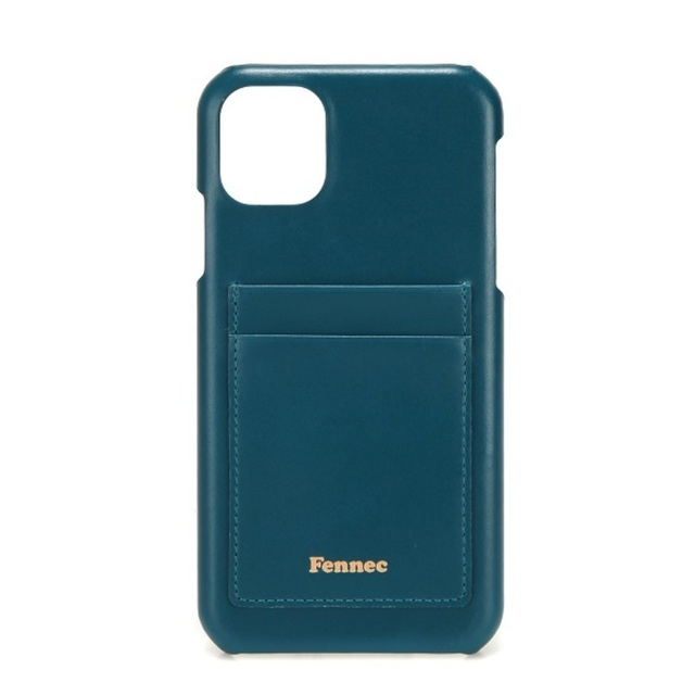LEATHER iPHONE 11 CARD CASE - 孔雀藍 / SEAGREEN