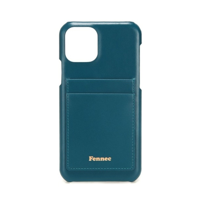 LEATHER iPHONE 11 PRO CARD CASE  - 孔雀藍 / SEAGREEN
