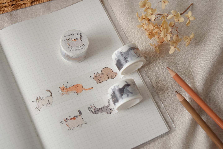 浪貓漫步紙膠帶2公分寬日本和紙製作與貓插圖