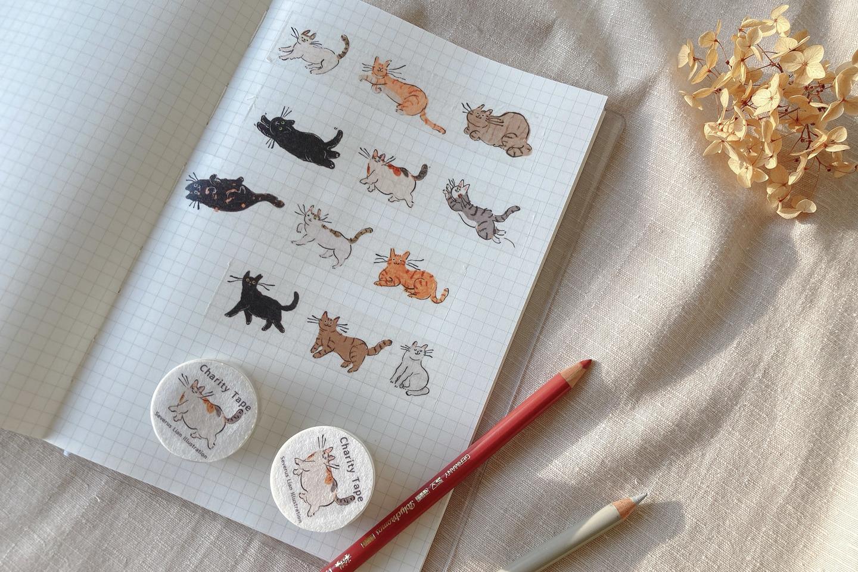貓插圖與日本和紙膠帶與手帳