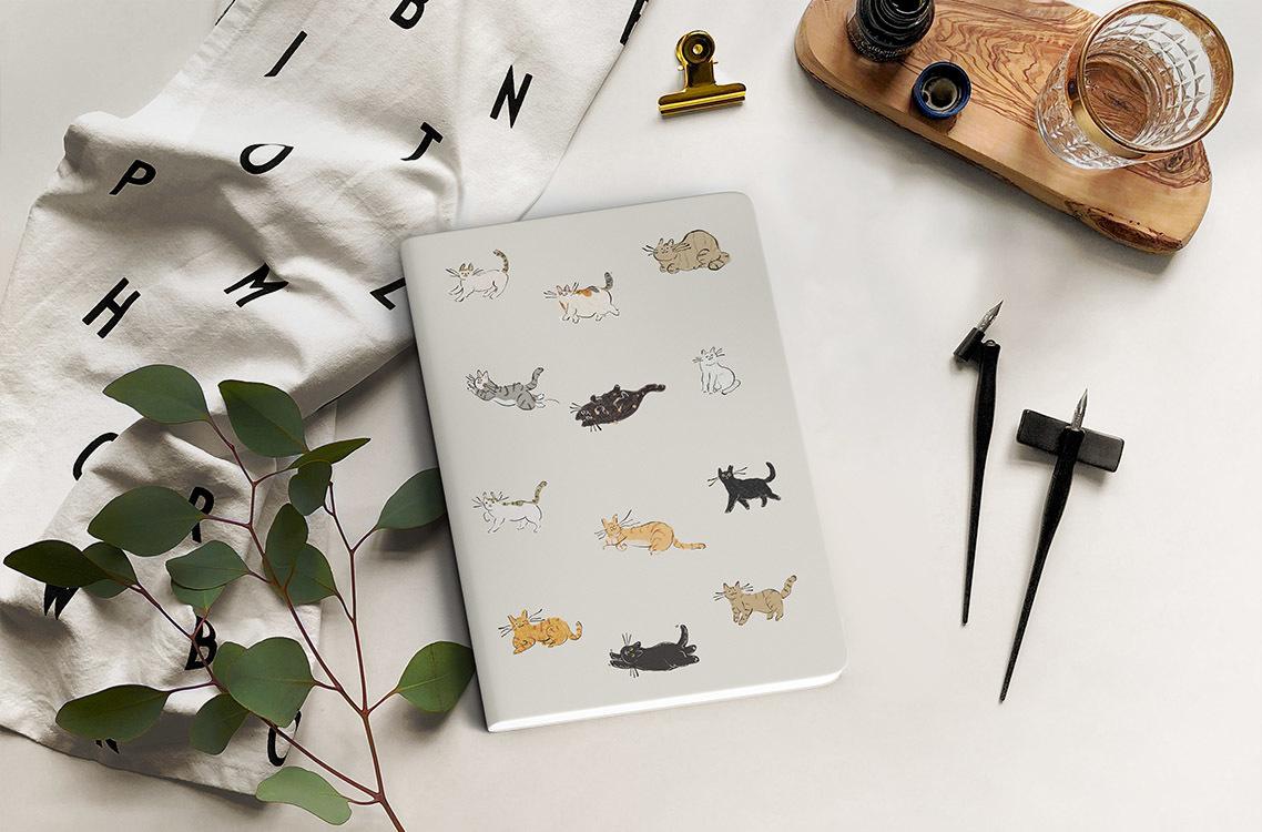 無實效手帳日誌與貓咪插圖
